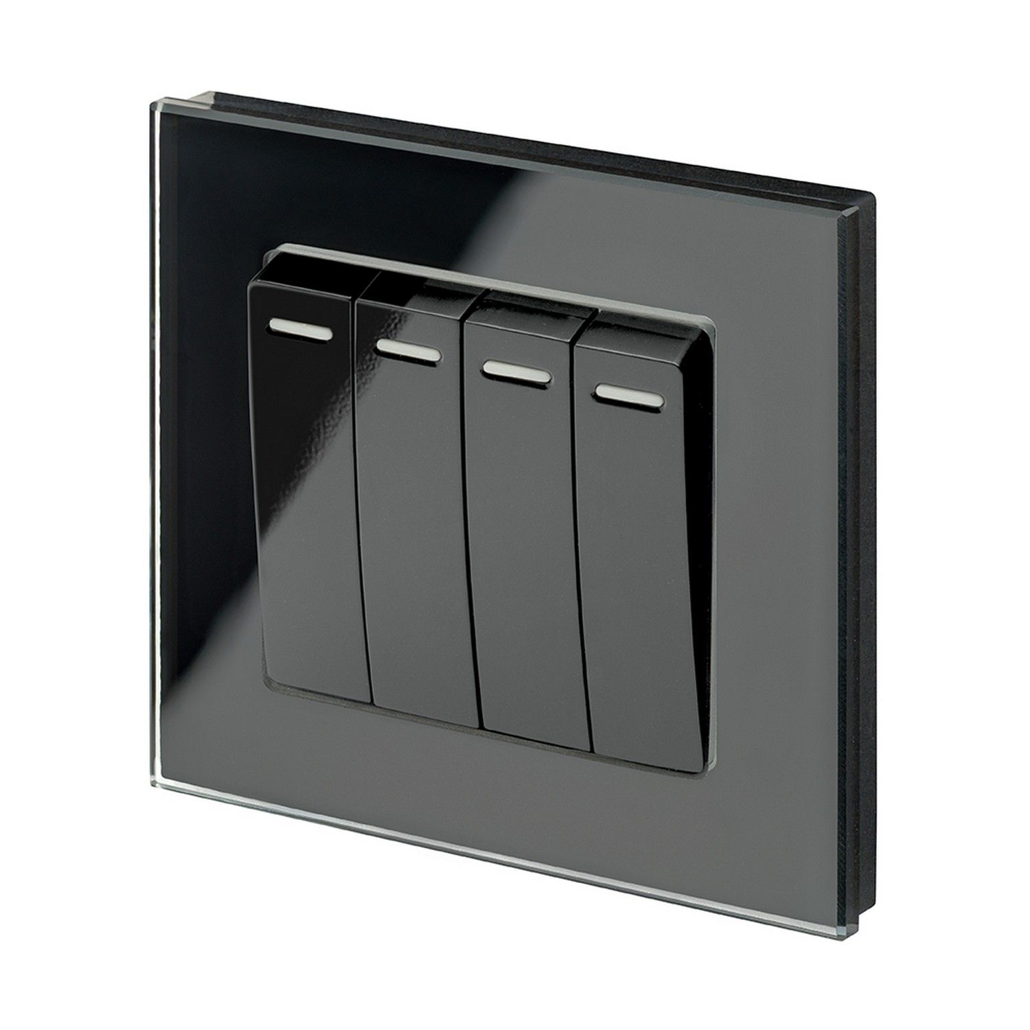 Retrotouch 4 Gang 1 Or 2 Way 10a Rocker Light Switch Black