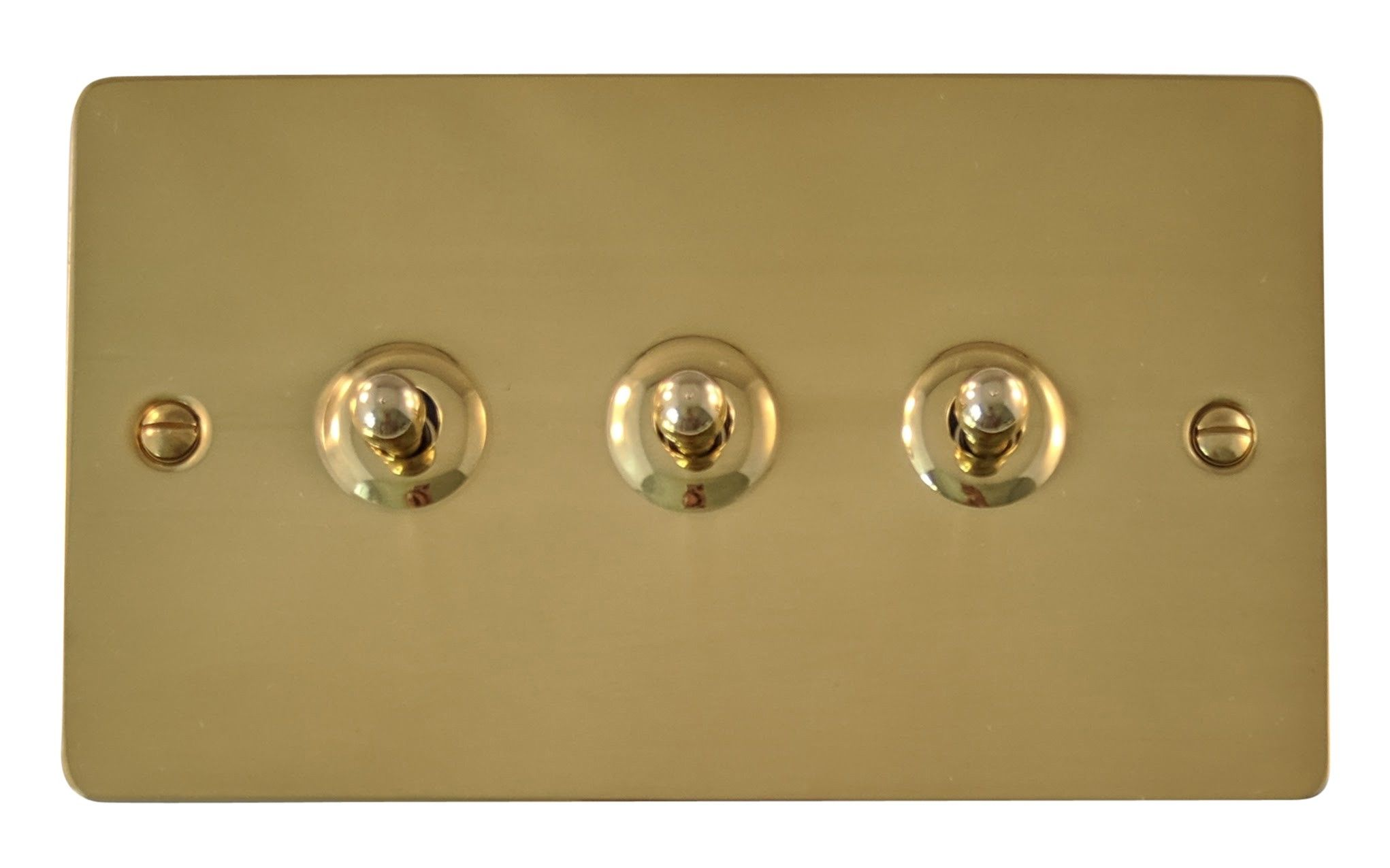 Gh Fb283 Flat Plate Polished Brass 3 Gang 1 Or 2 Way Toggle Light Switch