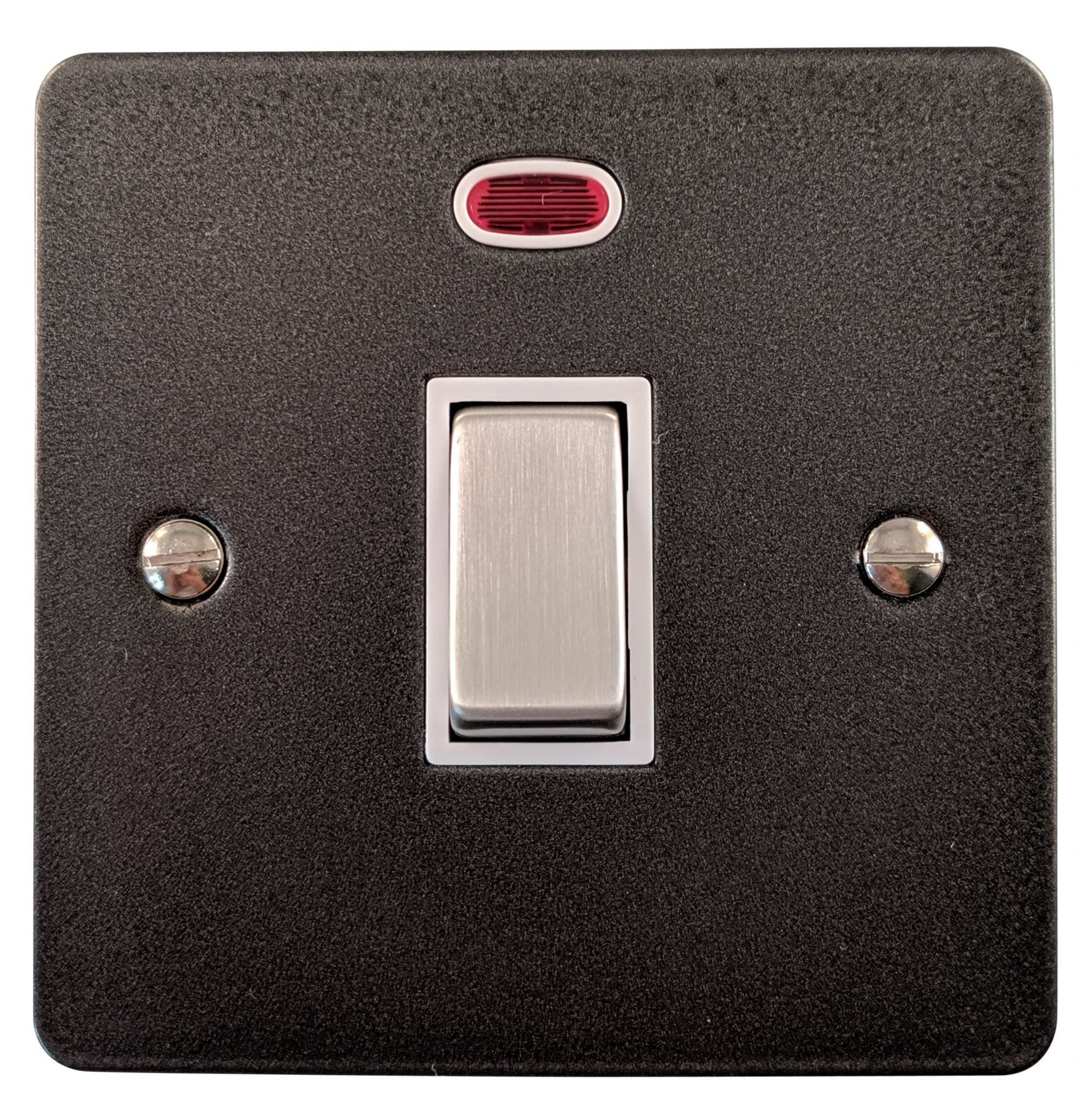 G&H FP226 Flat Plate Pewter 1 Gang 20 Amp Double Pole Switch & Neon