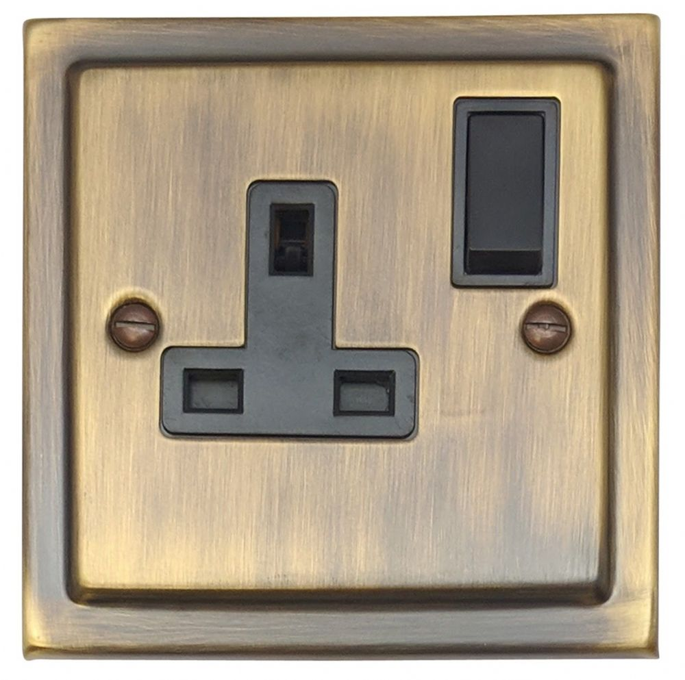 New 13A Single Switched Socket Antique Brass Flat Plate.