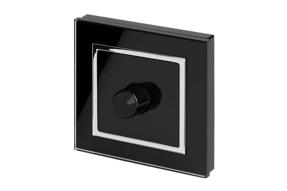 RetroTouch 1 Gang 2 Way Dimmer Switch 3-200W LED & Halogen Black Glass CT 02041