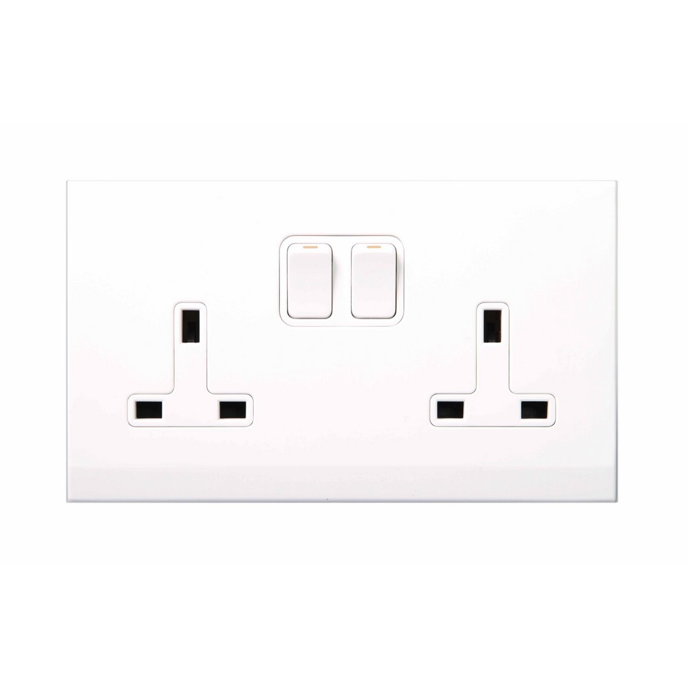 simplicity white screwless 13a double plug socket