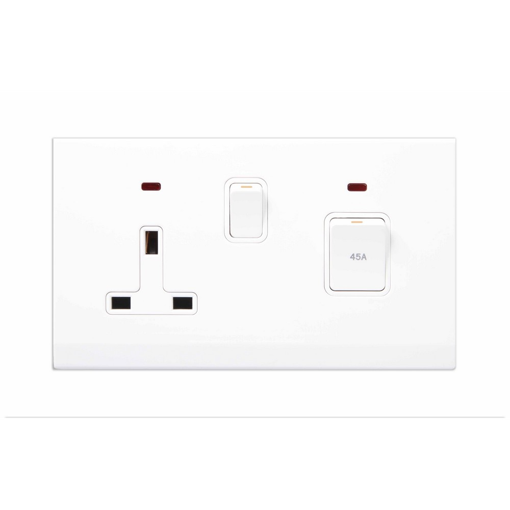 Simplicity White Screwless 45A DP Cooker Switch + 13A Plug Socket