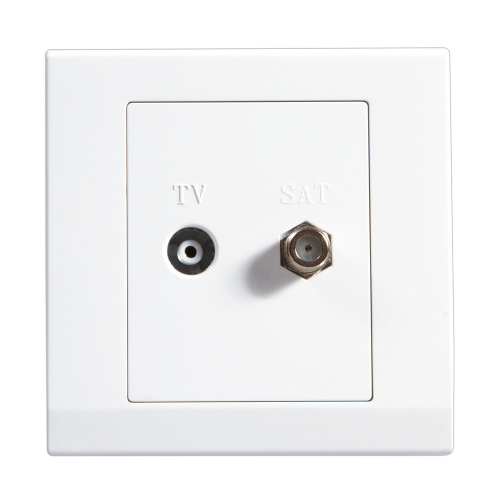 Simplicity White Screwless Double Coaxial TV + Satellite Socket