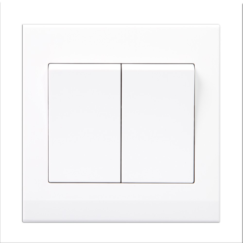 Simplicity White Screwless Rocker Light Switch 2 Gang 1