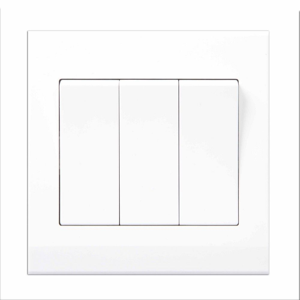 Simplicity White Screwless Rocker Light Switch 2 Gang 1 Way Pulse Retractive 3 07120