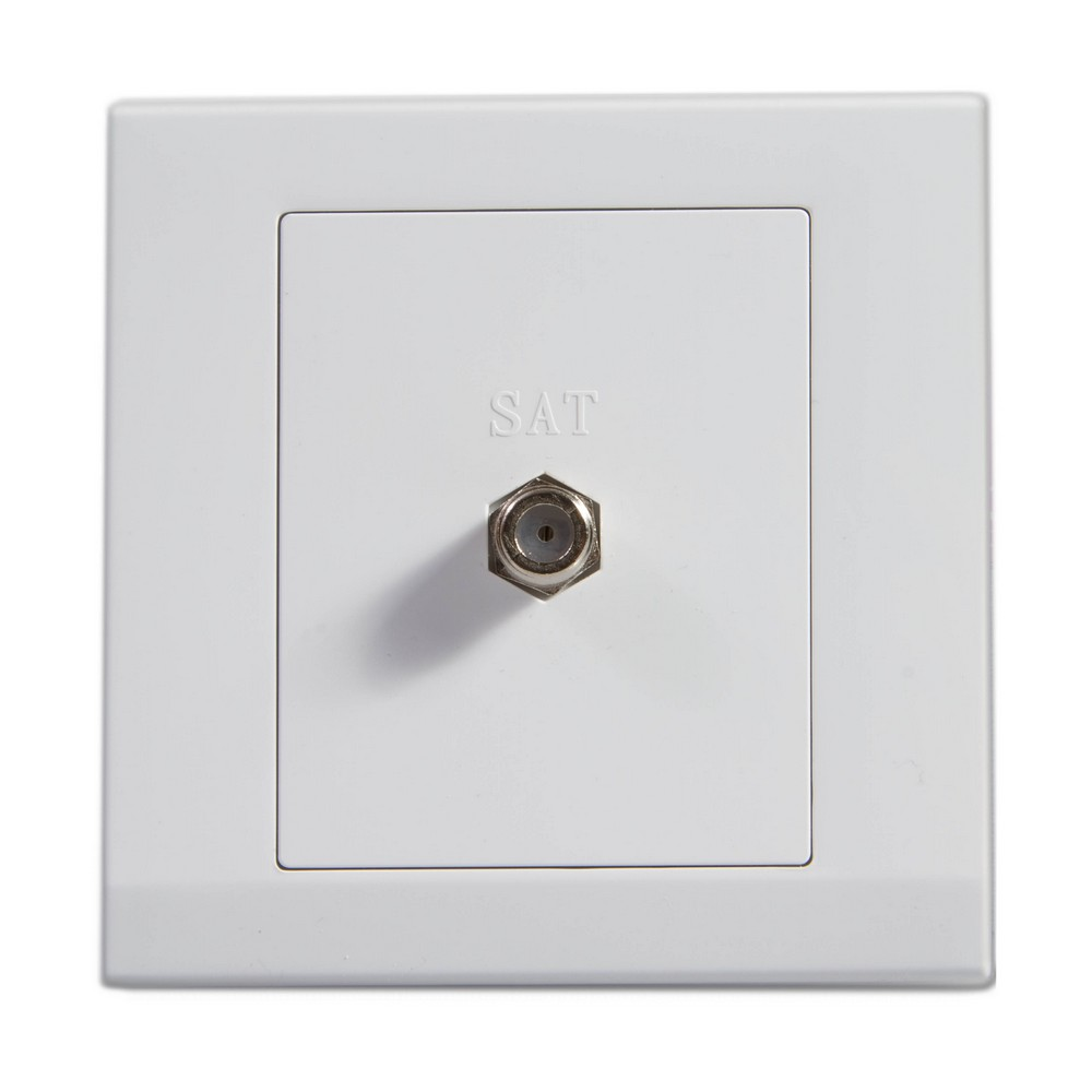 Simplicity White Screwless Single Coaxial Satellite Socket