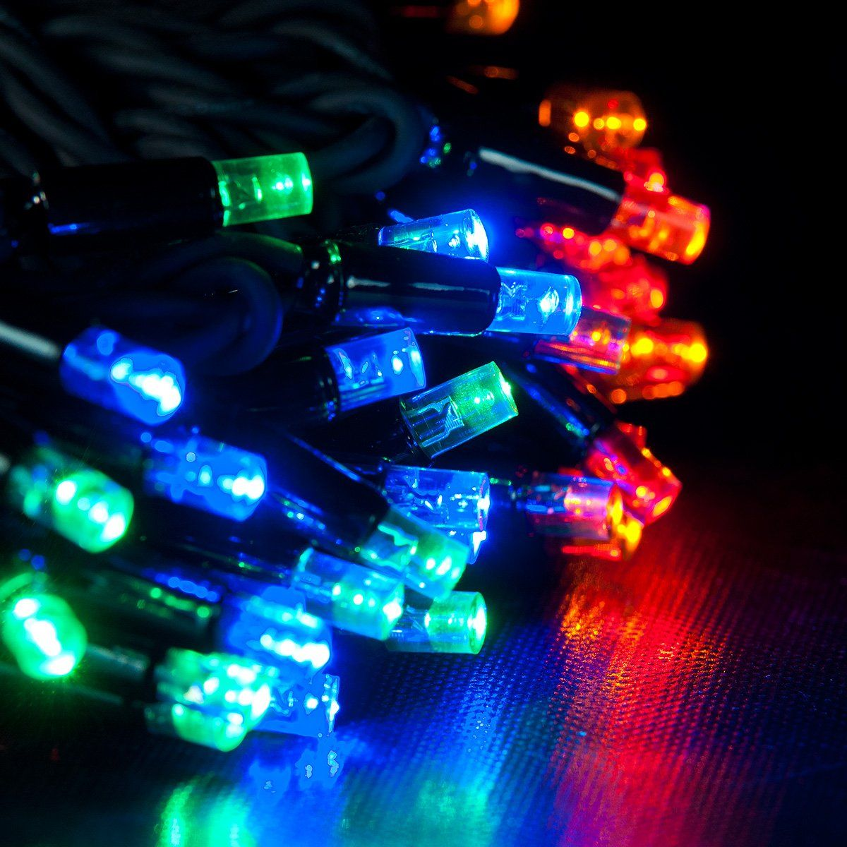 ConnectPro MV001 5m Multi-Coloured Outdoor LED String Lights, Connectable, Black Rubber Cable