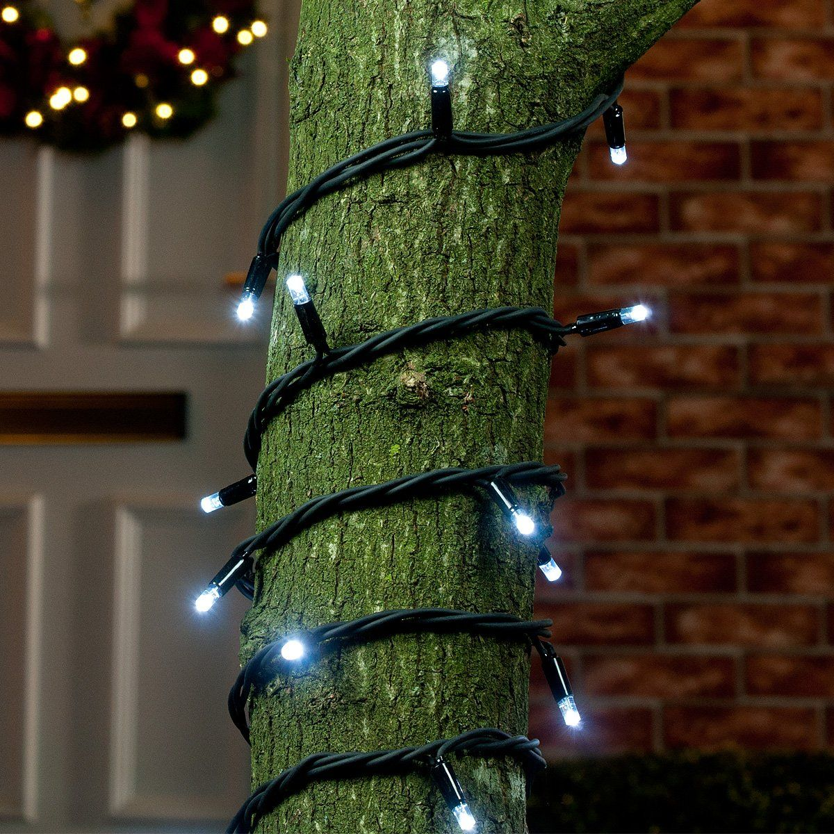 ConnectPro MV001 5m White Outdoor LED String Lights, Connectable, Black Rubber Cable