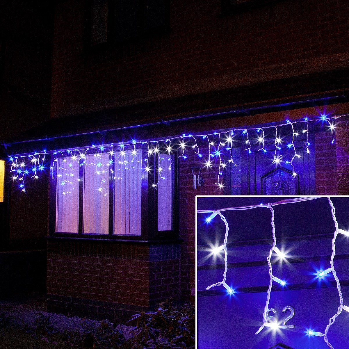 ConnectPro MV011 5M Blue & White Outdoor LED Icicle Lights, Connectable, White Rubber Cable