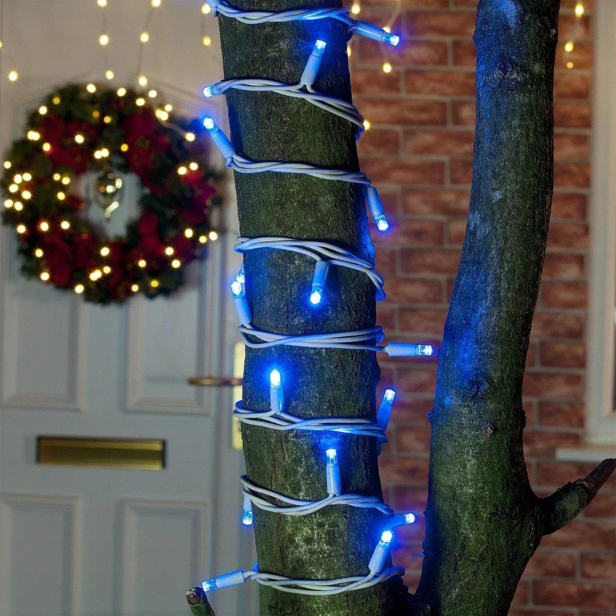 ConnectPro MV032 5m Blue Outdoor LED String Lights, Connectable, White Rubber Cable