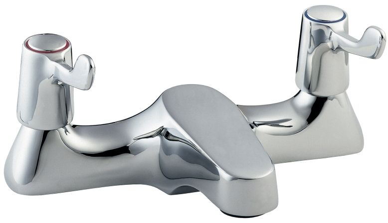 "Deva DLT108 Lever Action Chrome Deck Mounted Bath Filler Mixer Tap 3"" Levers"