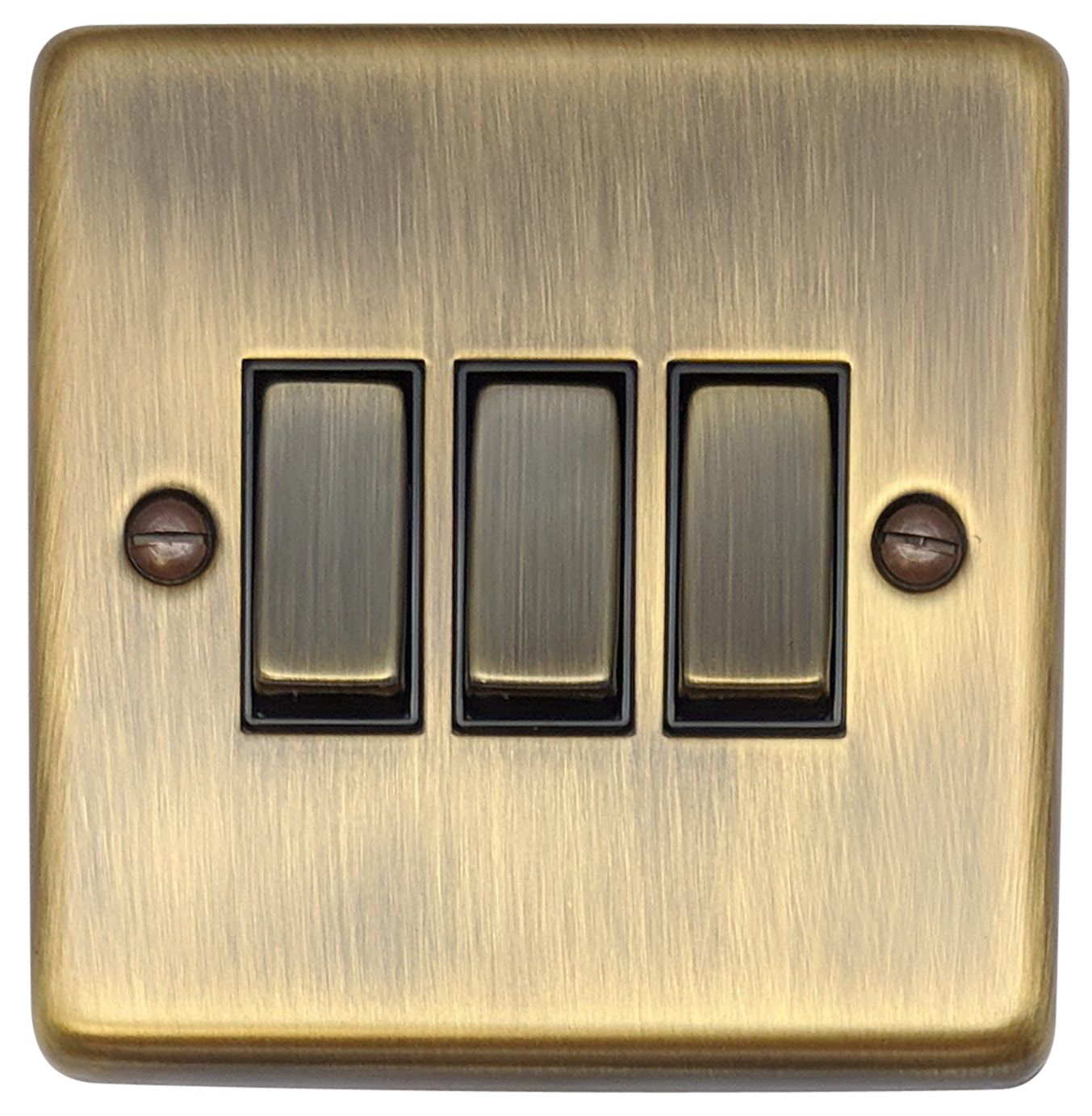 Gh Cab303 Standard Plate Antique Bronze 3 Gang 1 Or 2 Way Rocker Light Switch Uk