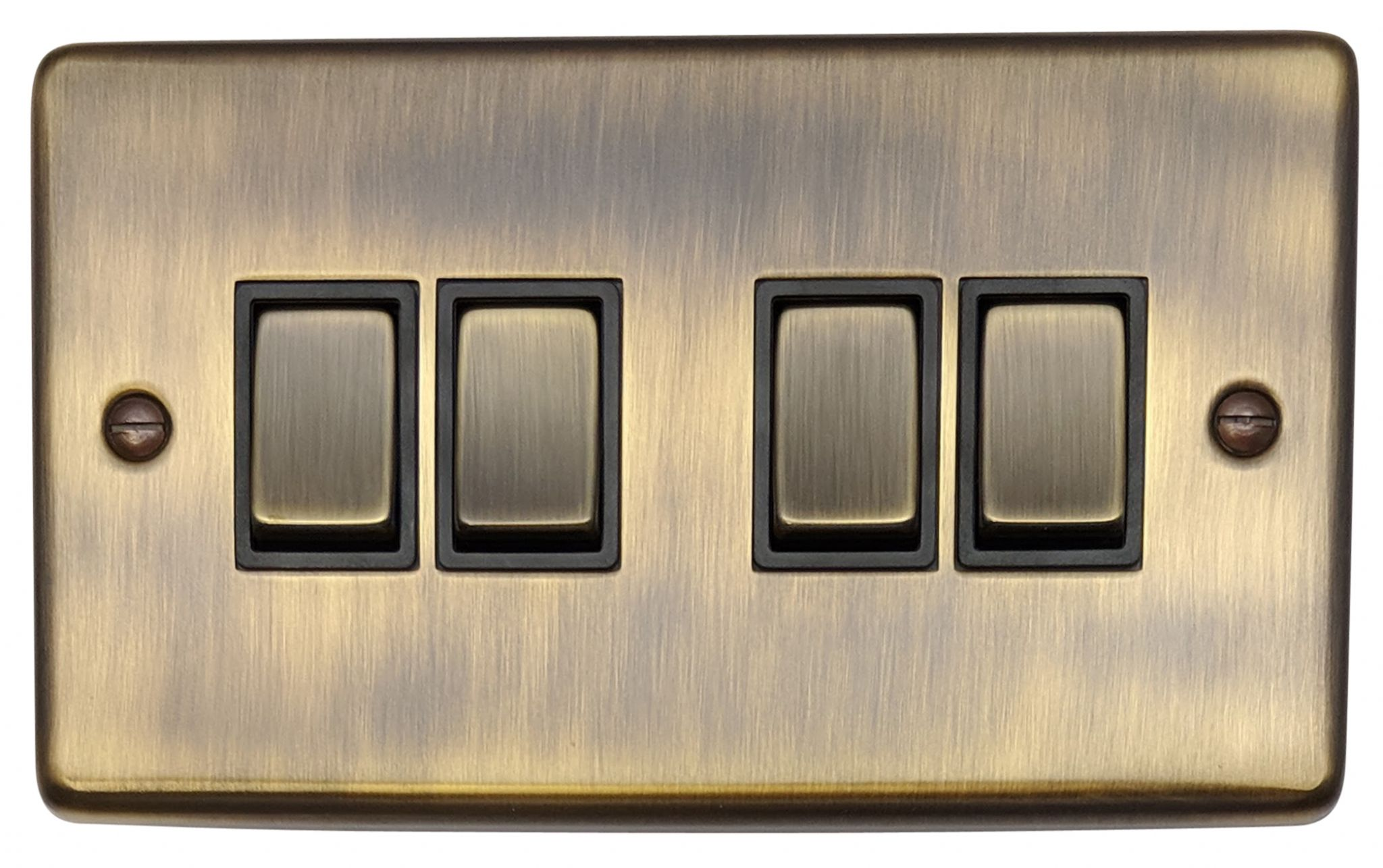 Gh Cab304 Standard Plate Antique Bronze 4 Gang 1 Or 2 Way Rocker Light Switch