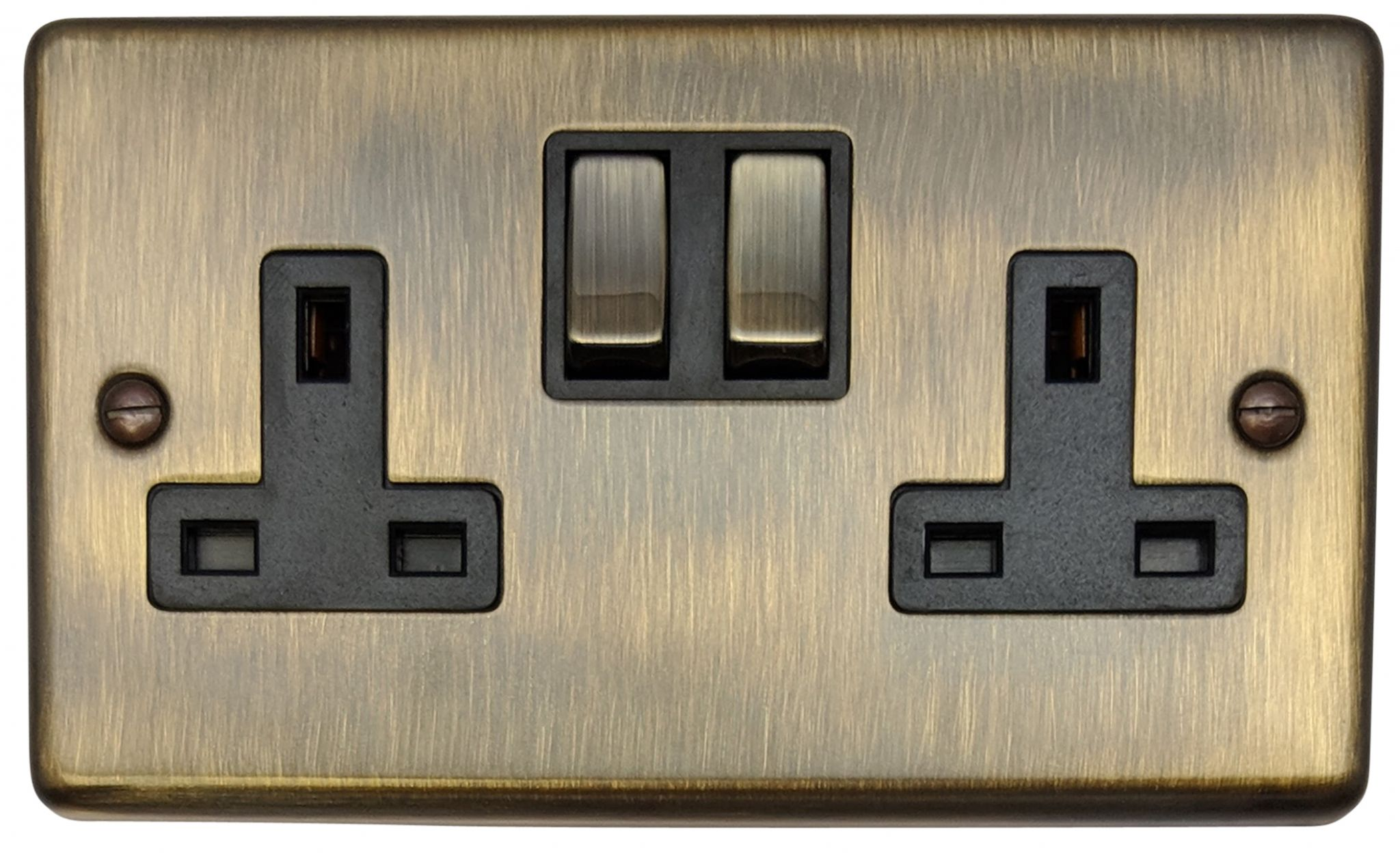 g h cab310 standard plate antique bronze 2 gang double 13a switched plug socket