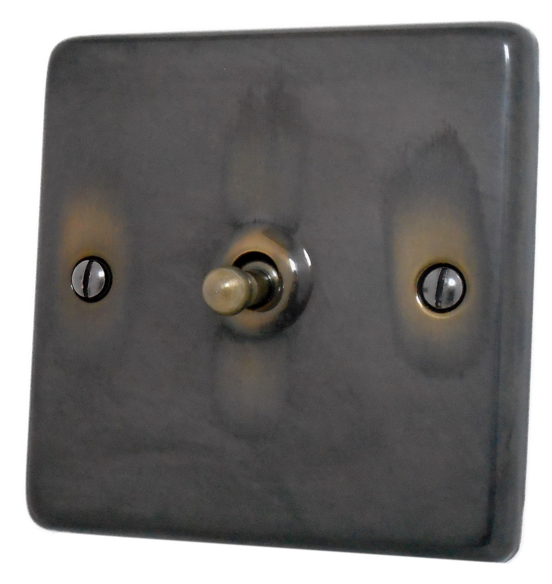 G H Can285 Standard Plate Polished Aged Brass 1 Gang Intermediate Toggle Light Switch