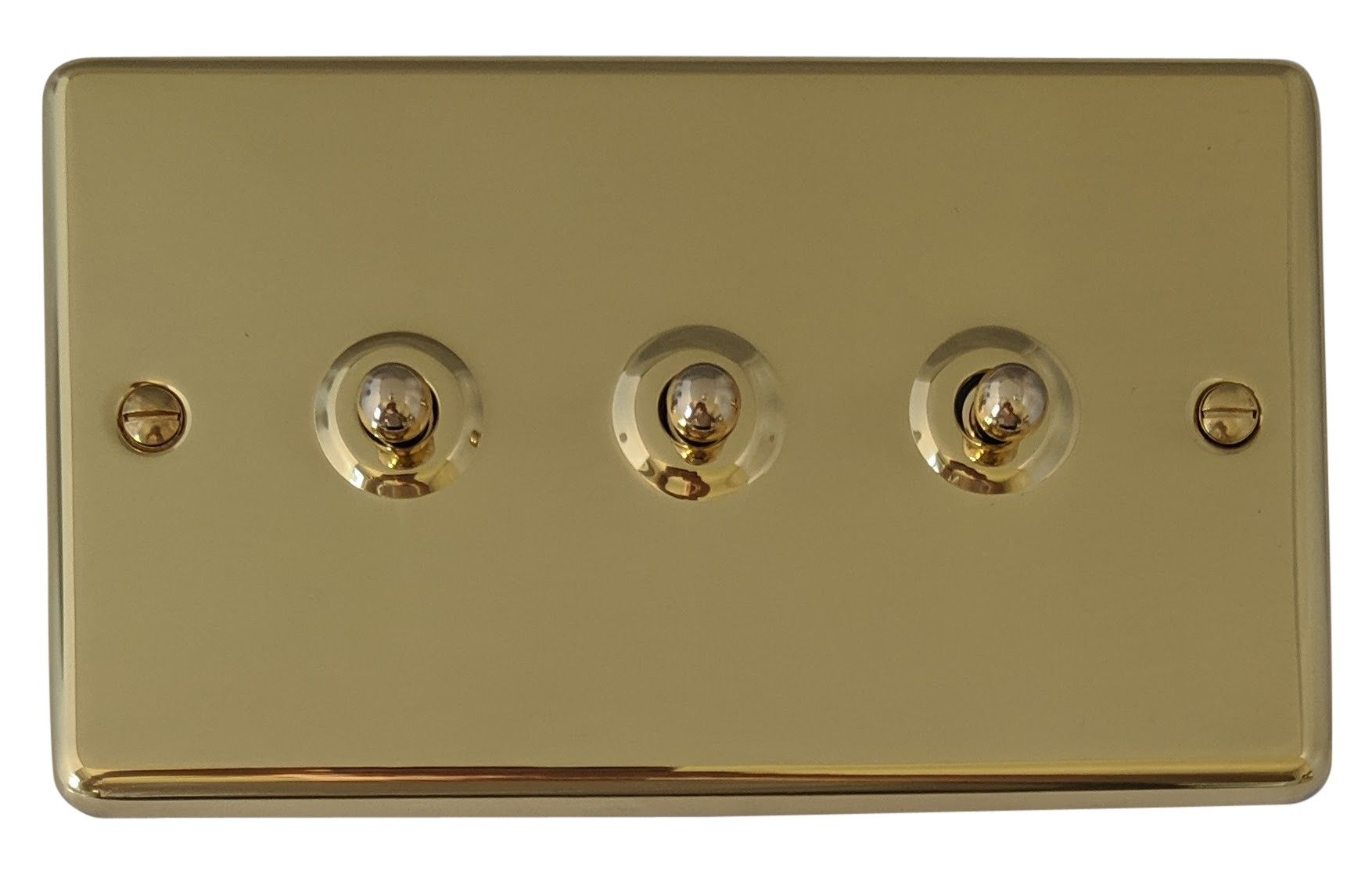G H Cb283 Standard Plate Polished Brass 3 Gang 1 Or 2 Way Toggle Light Switch