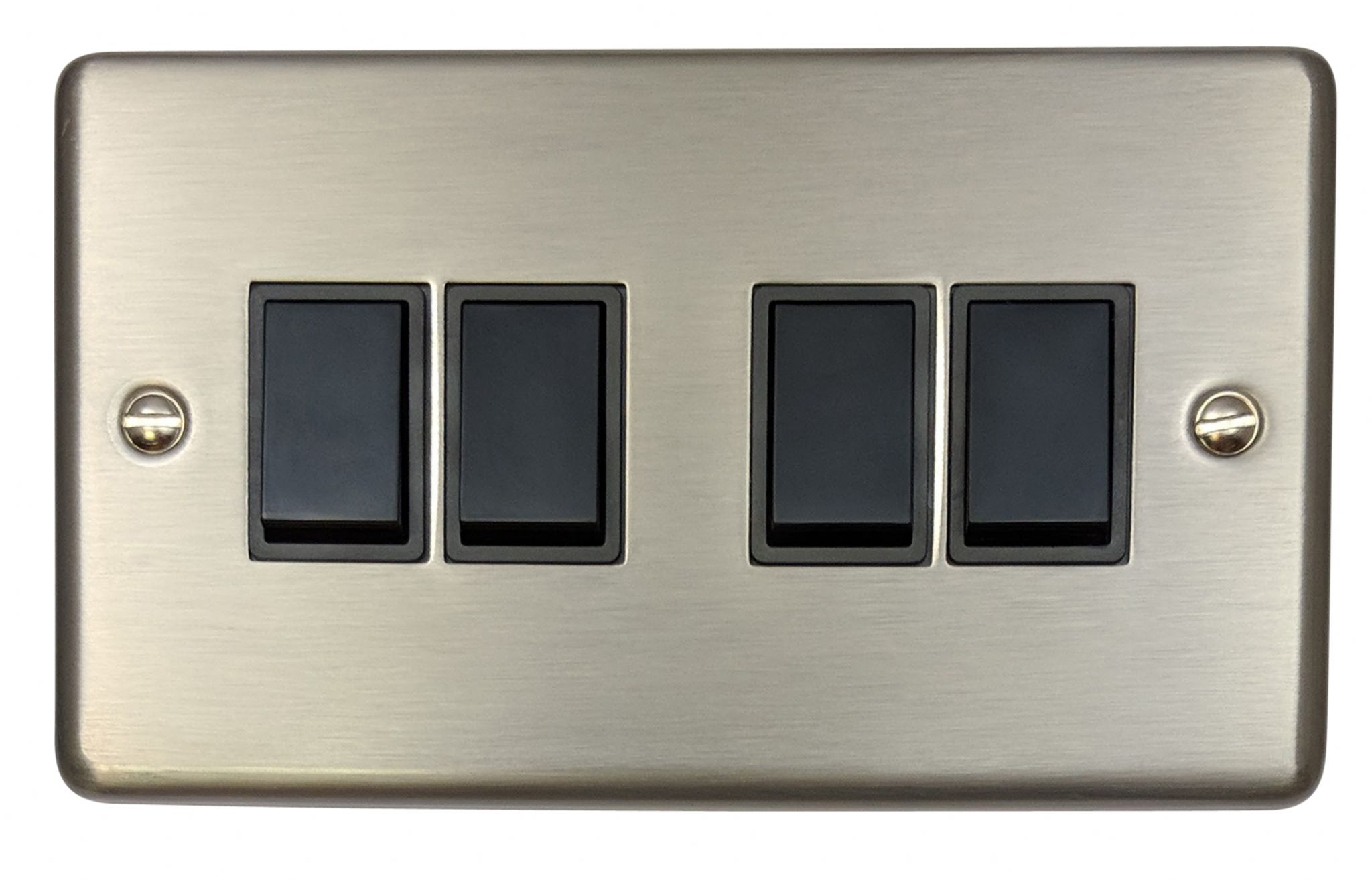 4 Way Light Switch Uk Gh Css4b Standard Plate Brushed Steel Gang 1 Or 2 Rocker