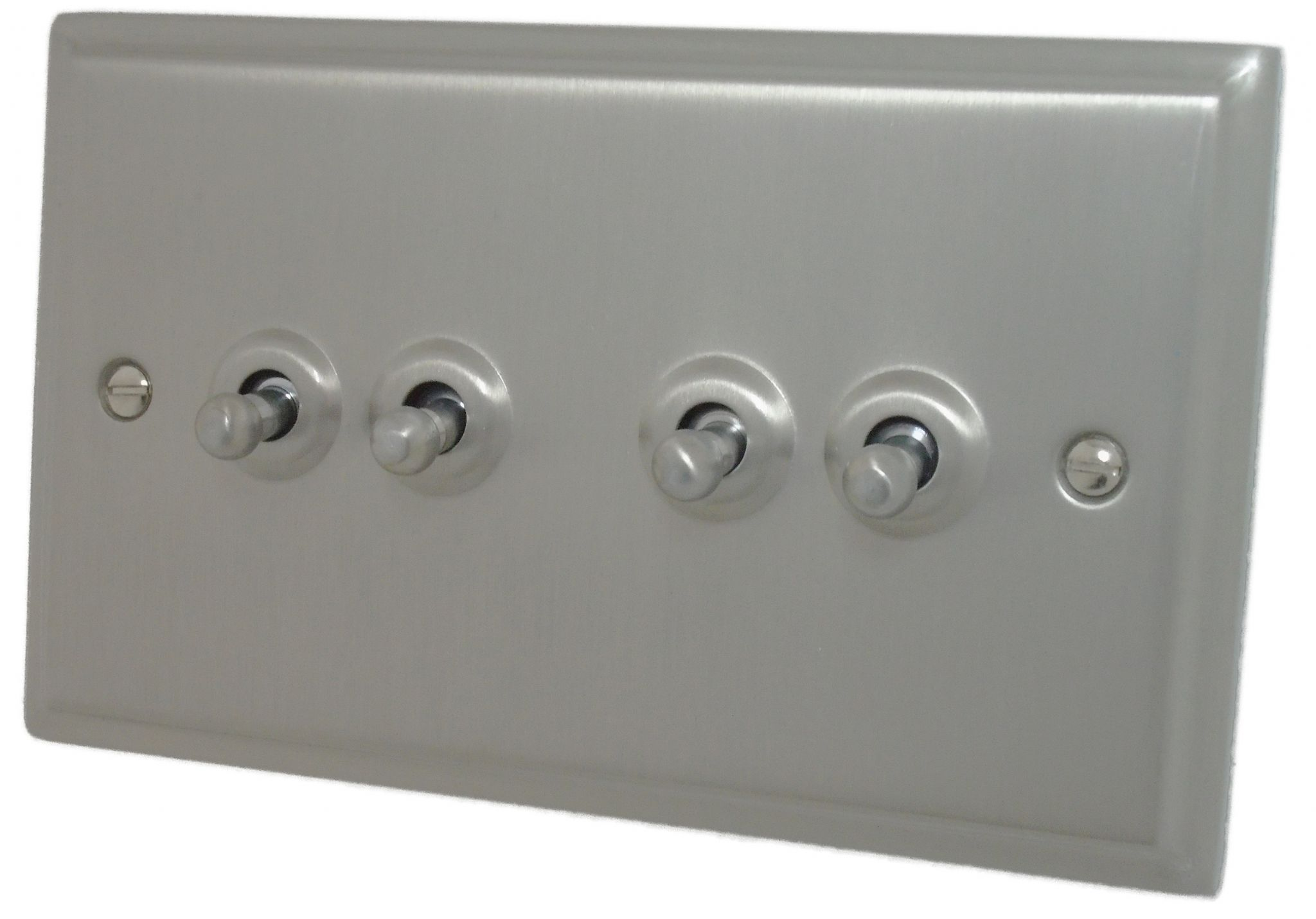Gh Dsn284 Deco Plate Satin Nickel 4 Gang 1 Or 2 Way Toggle Light Switch Phono Box