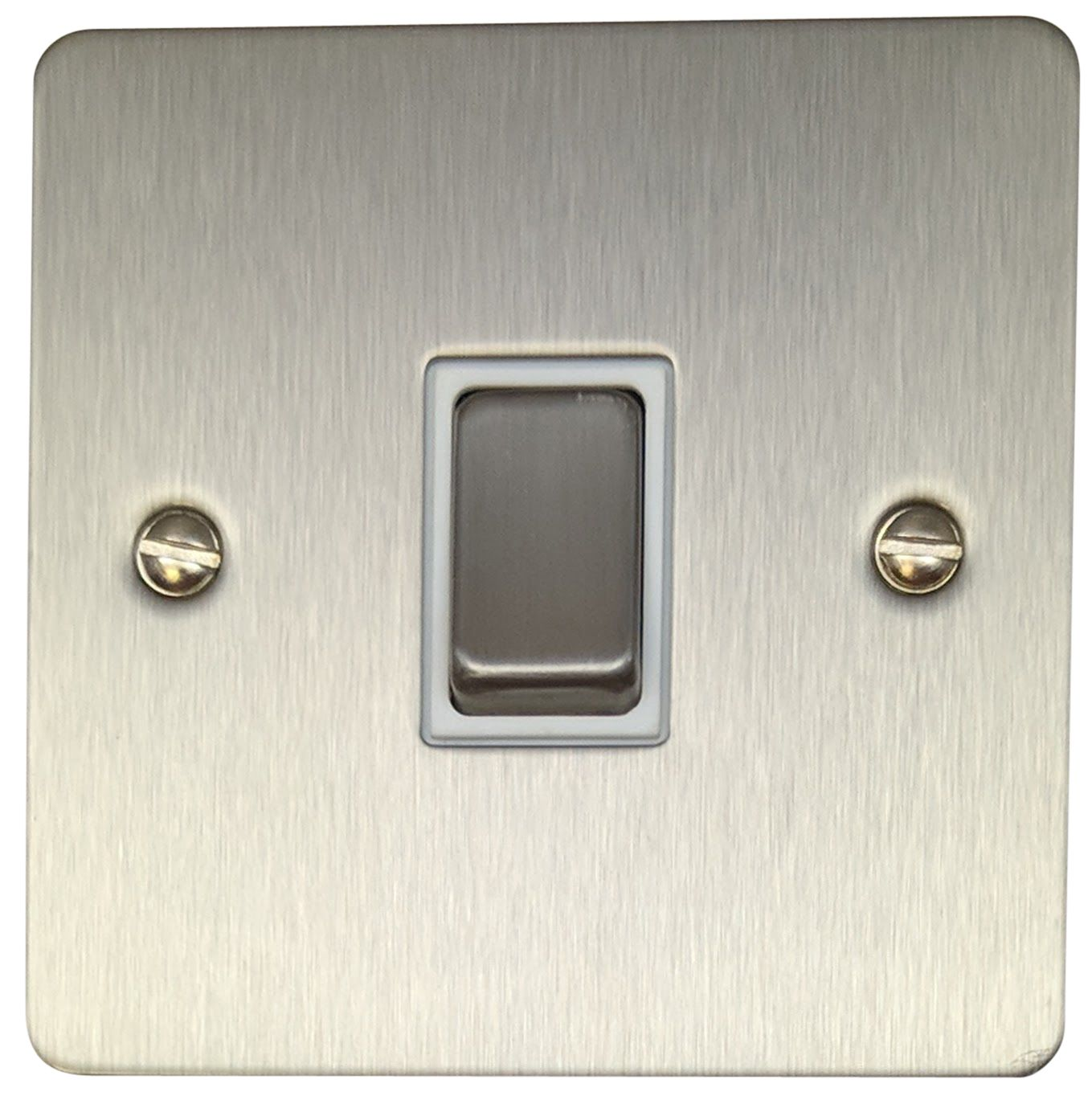 G/&H FSS310 Flat Plate Brushed Steel 2 Gang Double 13A Switched Plug Socket