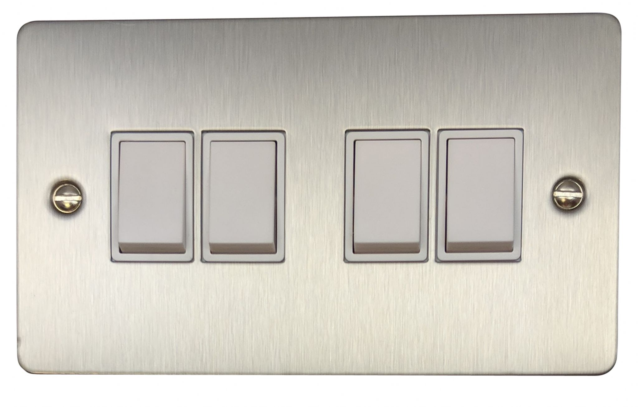 G Amp H Fss4w Flat Plate Brushed Steel 4 Gang 1 Or 2 Way