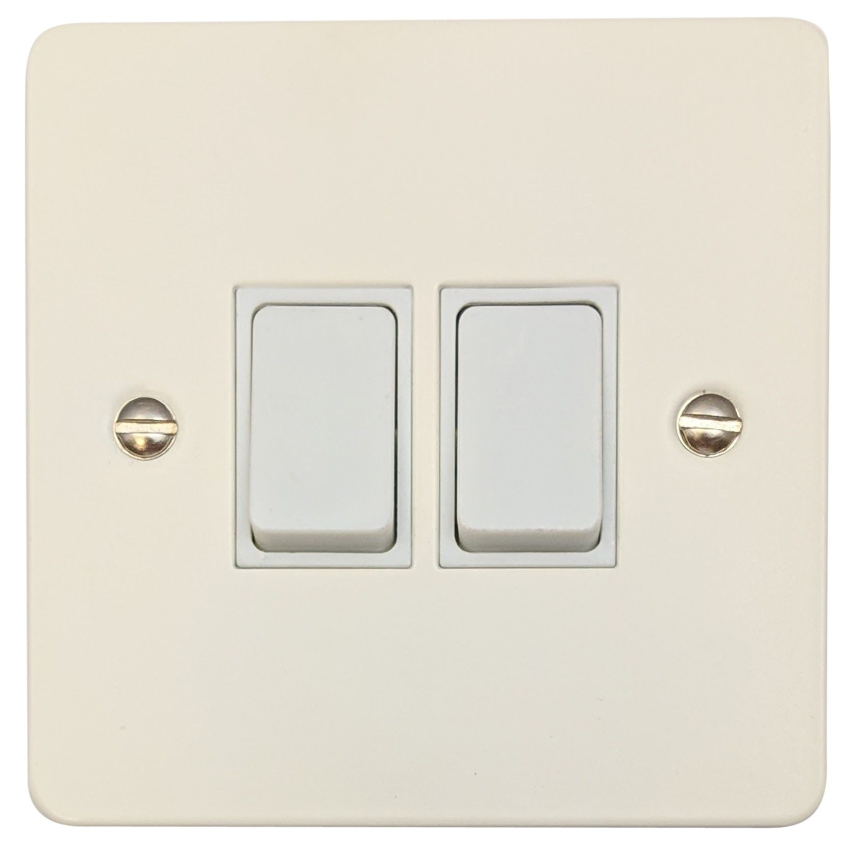 Rocker Light Switch >> G H Fw2w Flat Plate Matt White 2 Gang 1 Or 2 Way Rocker Light Switch
