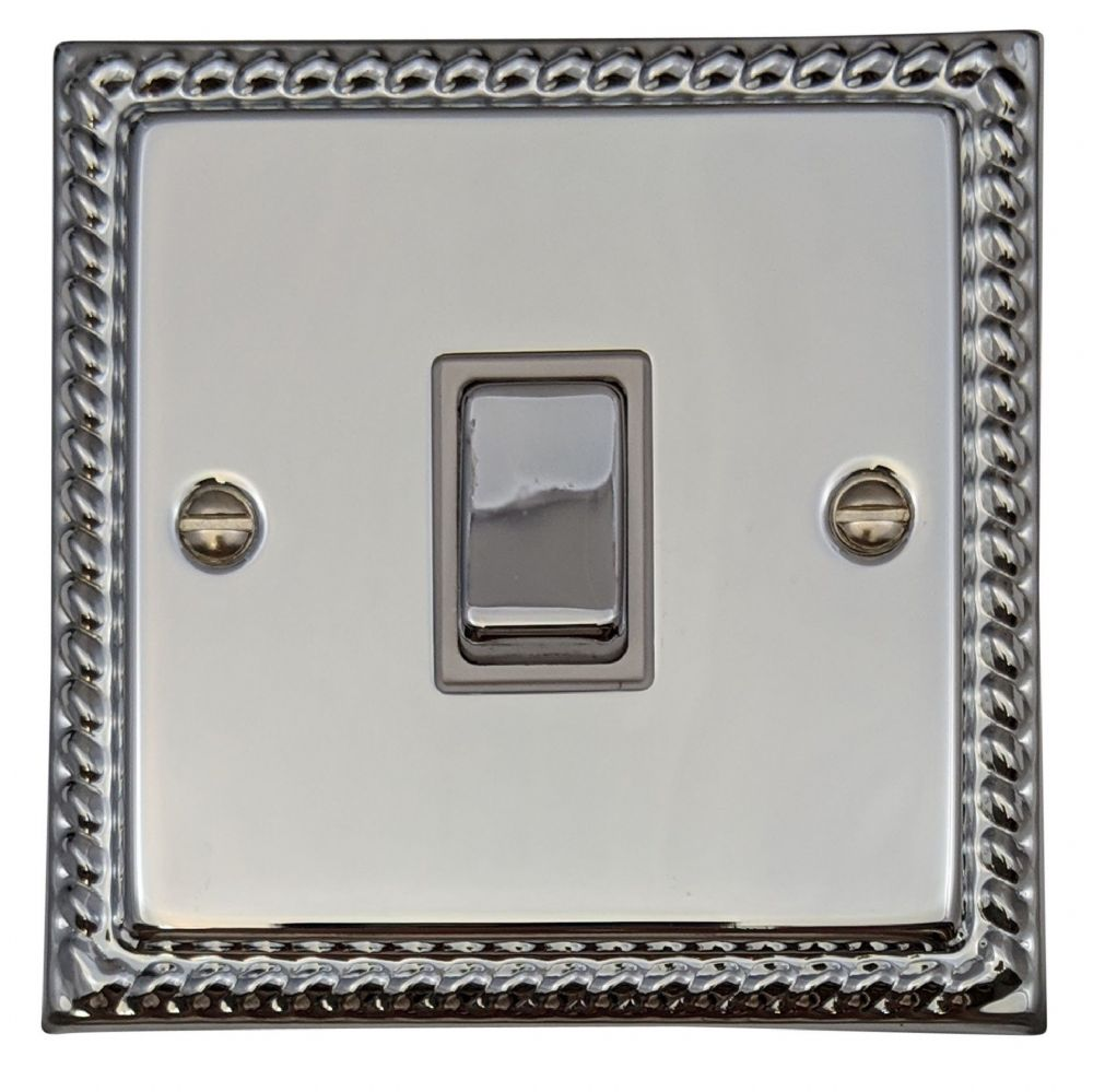 1 Gang Single Toggle Light Switch Black Nickel Effect Polished 2 Way 10 Amp
