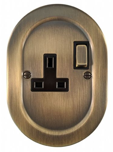 G/&H OAB10B Oval Plate Antique Bronze 2 Gang Double 13A Switched Plug Socket
