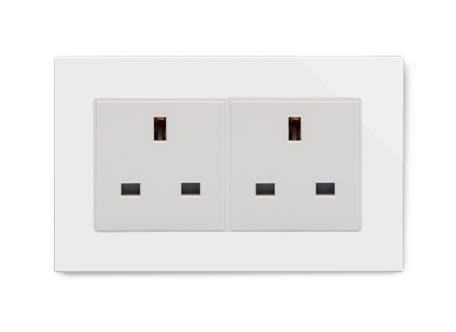 Retrotouch 13a Double Plug Socket Unswitched White Glass