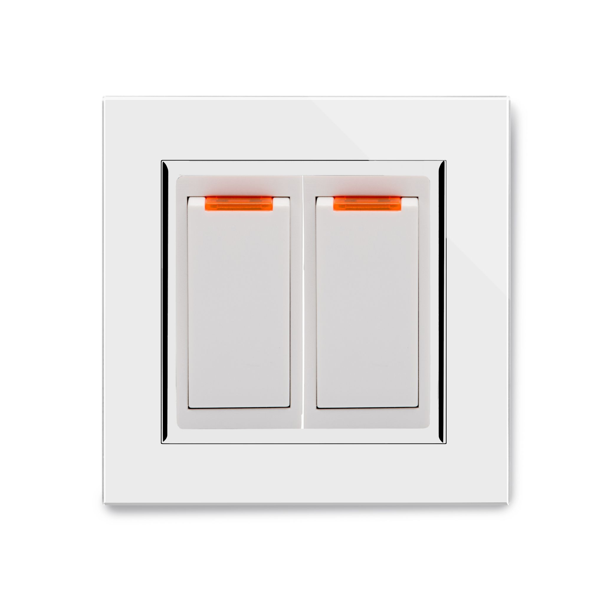 RetroTouch 20 Amp Double Pole Dual Switch with Neon White Glass CT 04201