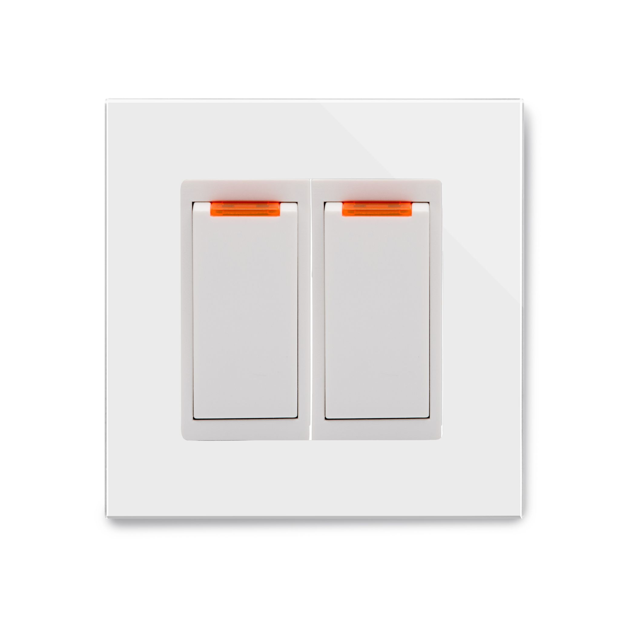 RetroTouch 20 Amp Double Pole Dual Switch with Neon White Glass PG 04204