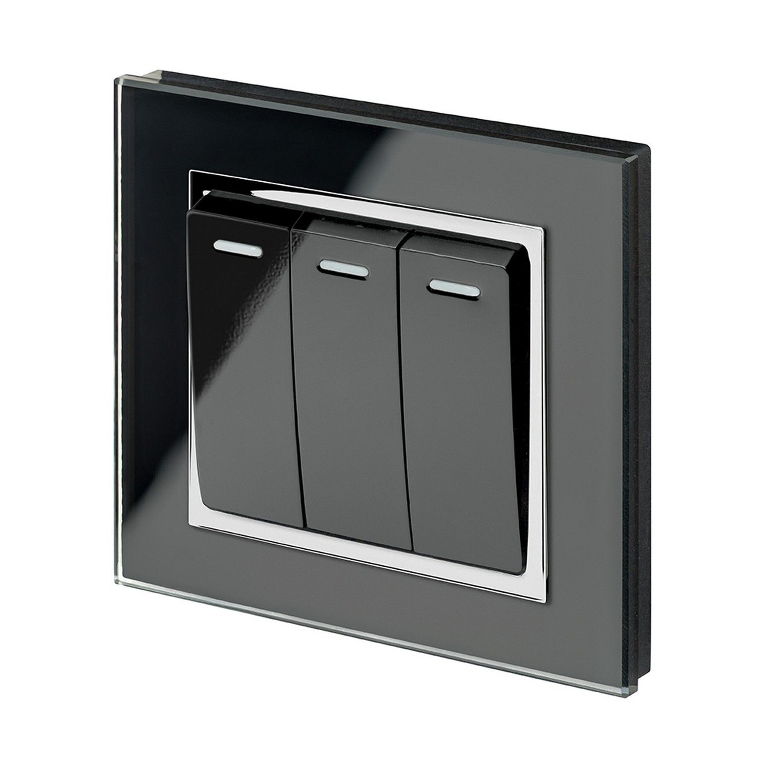 Retrotouch Gang Or Way A Rocker Light Switch Black Glass Ct P
