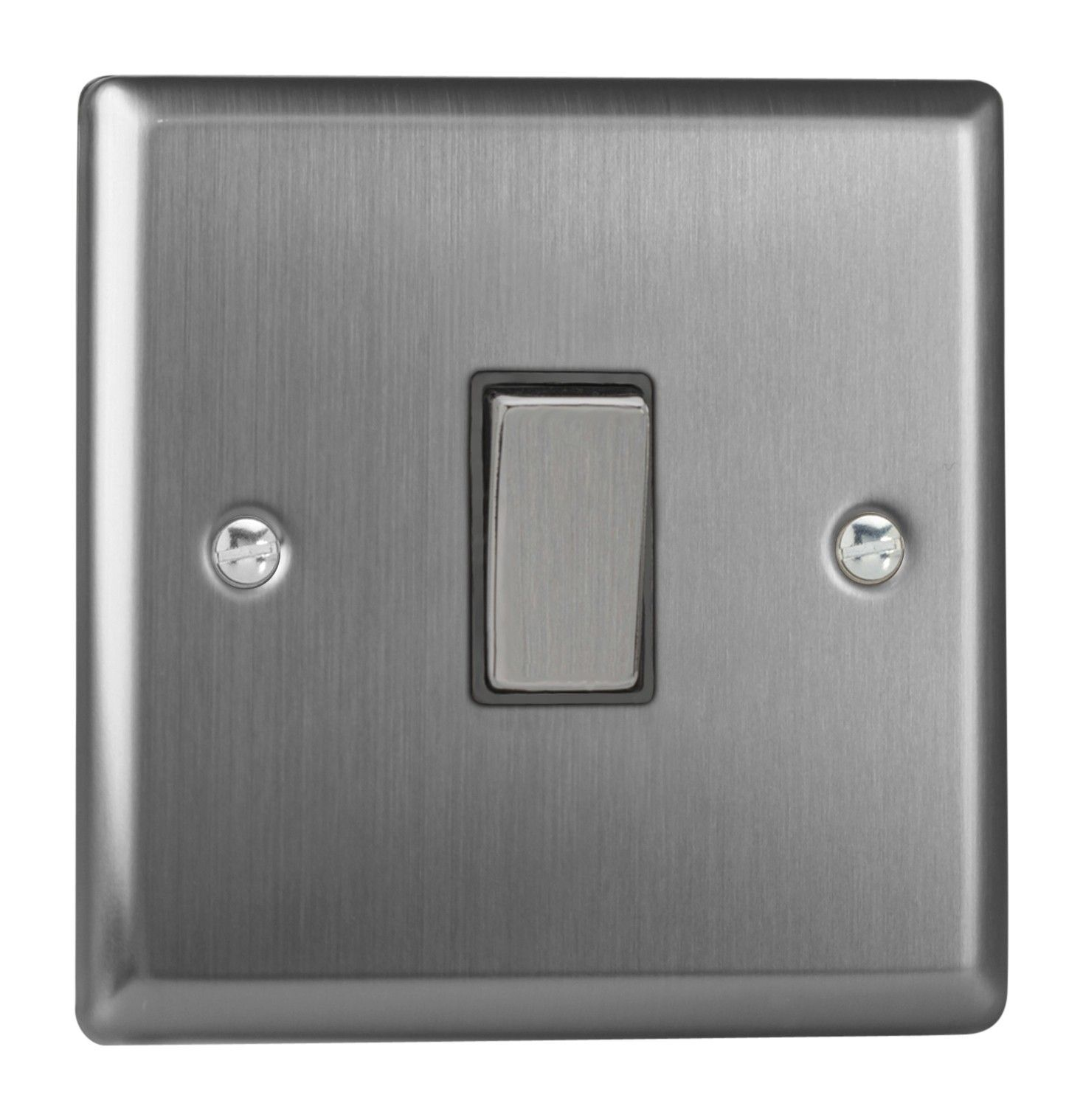 Varilight XT20D Classic Brushed Steel 1 Gang 20A Double Pole Switch